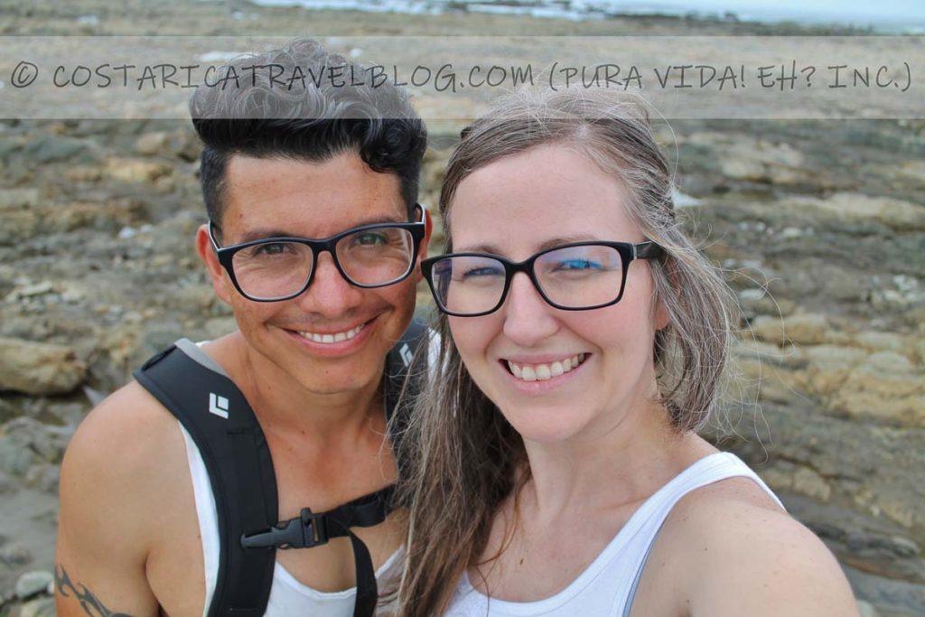Ricky and Nikki; whale-tail sandbar, Marino Ballena National Park