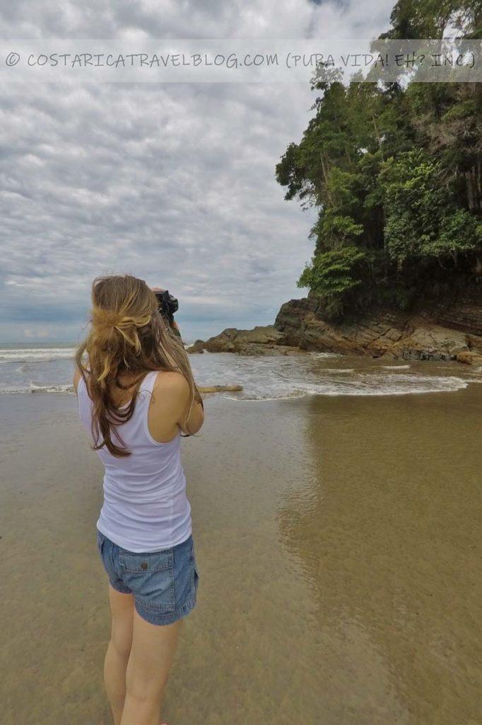 Nikki; photographing caves at Playa Ventanas