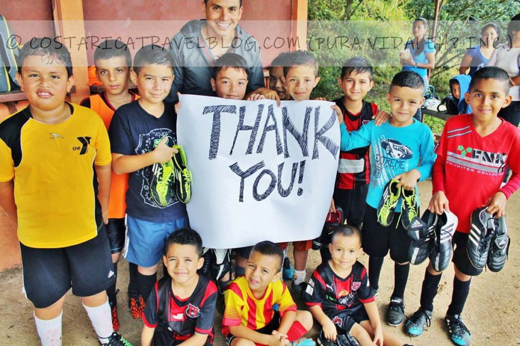 Ricky; donating soccer shoes to kids