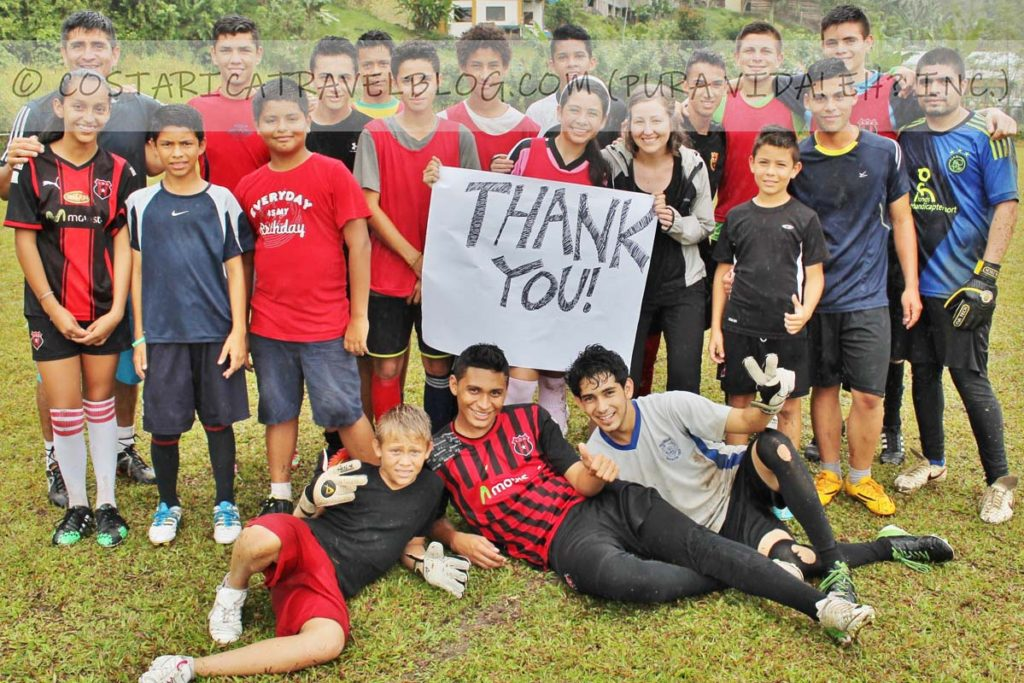 Nikki; donating soccer shoes to kids